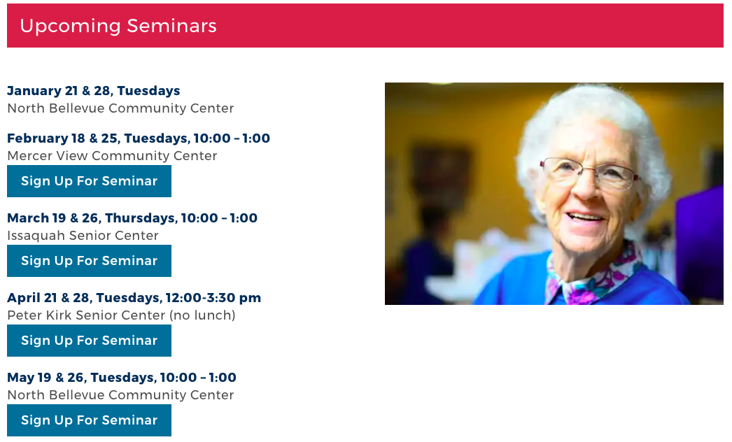 Eventbrite sign-up functionality for ElderMove Alliance free seminars is integrated into the website